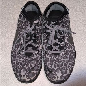 Nike Free Leopard Gray Silver Running Shoes US 9